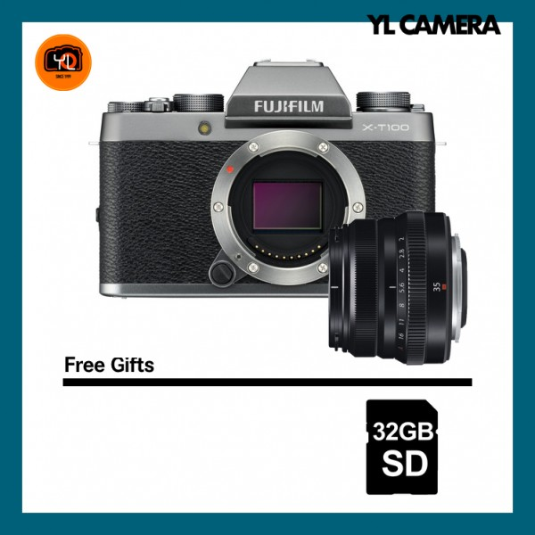 (Special Deal) Fujifilm X-T100 + XF 35mm F2 R WR (Dark Silver) [Free 32GB SD Card]