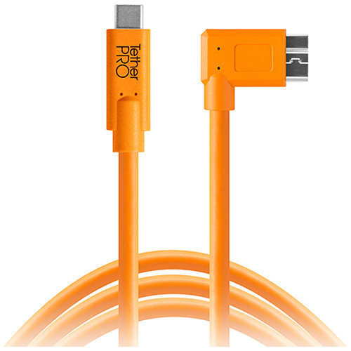 Tether Tools CUC33R15-ORG TetherPro USB Type-C Male to Micro-USB 3.0 Type-B Male Cable (15', Orange)