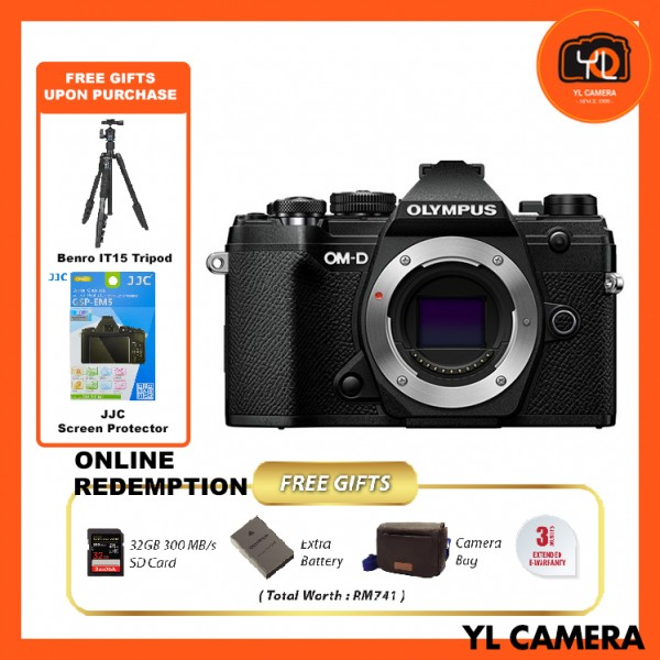 (Promotion) Olympus OM-D E-M5 Mark III - Black (FREE Benro IT-15 Tripod + JJC Screen Protector) [Online Redemption Extra Battery + 32GB SD Card UHS-II + Olympus Bag]
