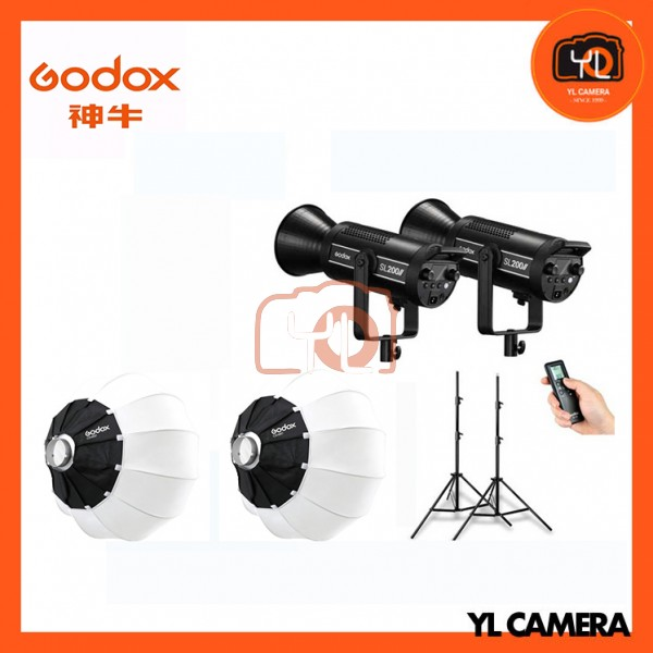 Godox SL200W II LED Video Light 2 Light with CS-65D Latern Softbox Stand Profession Combo Set