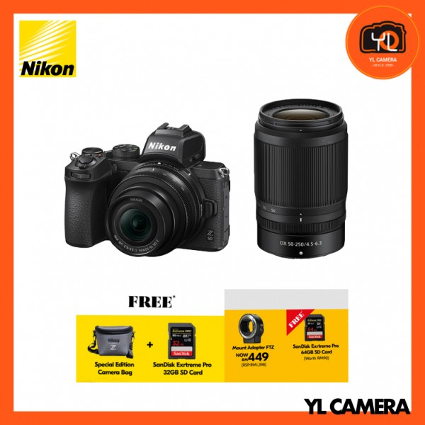 (Promotion) Nikon Z 50 Camera + DX 16-50mm F3.5-6.3 VR + DX 50-250mm f4.5-6.3 VR + FTZ Mount Adapter (Free 32GB ExtremePro SD Card + Camera Bag)