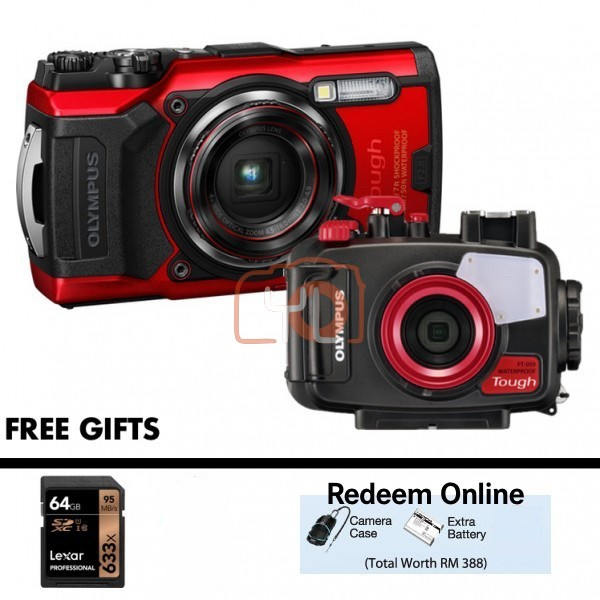 Olympus Tough TG-6 + PT-059 Underwater Housing (RED) [Free LEXAR 64GB SD Card] [Online Redemption Extra Battery + Camera Case]