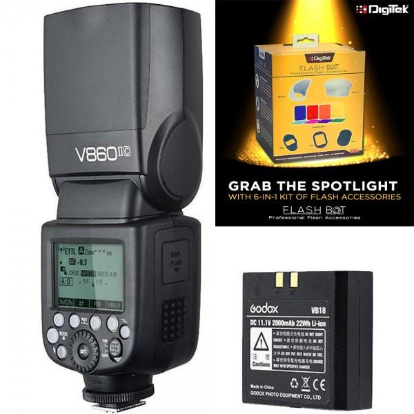 Godox VING V860IIF Fro Fujifilm TTL Li-Ion Flash Kit + Digitek Flash BOT Kit DFB-001 Combo Set