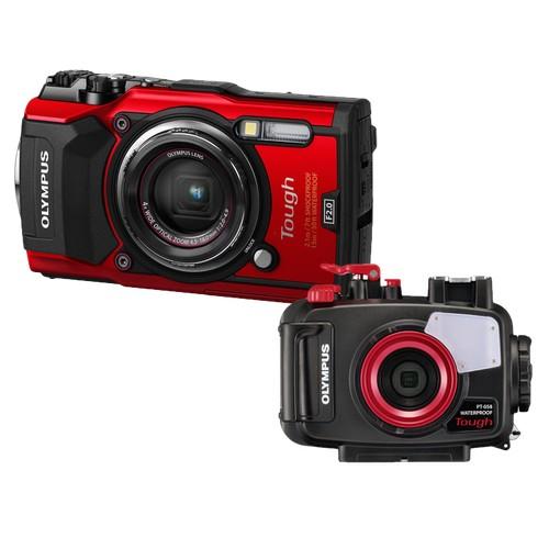 Olympus TG-5 Tough Compact Camera (Red) + Olympus PT-058 Underwater Housing