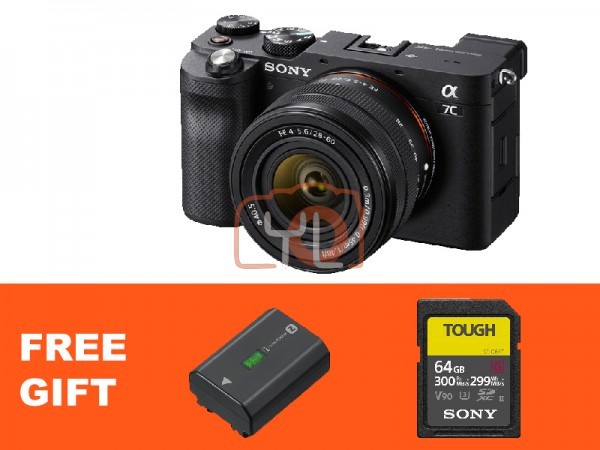 Sony A7C + FE 28-60mm F4-5.6 - Black (Free Tough 64GB SD Card + NP-FZ100)