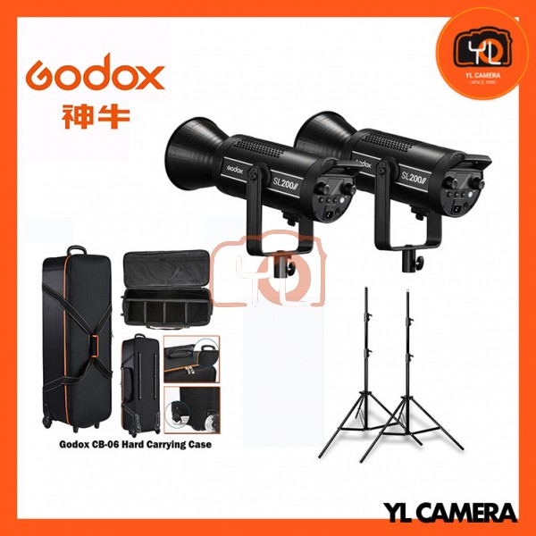 Godox SL200W II LED Video Light 2 Light Stand with CB-06 Trolley Carring Bag