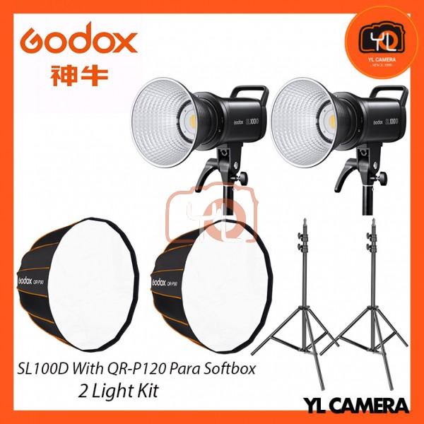 Godox SL100D Daylight With QR-P120 Parabolic Softbox + 280CM Light Stand (2 Light Duo Kit)