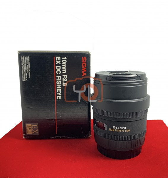 [USED-PJ33] Sigma 10MM F2.8 Fisheye EX DC HSM (Canon), 95% Like New Condition (S/N:1004046)