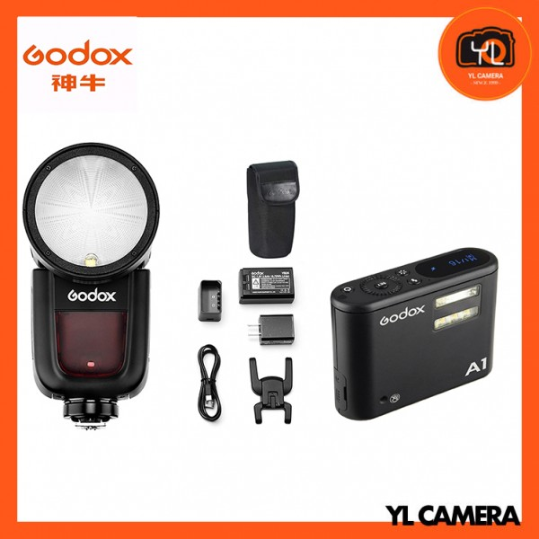 Godox V1 TTL Li-ion Round Head Flash Fujifilm With A1 Wireless Flash