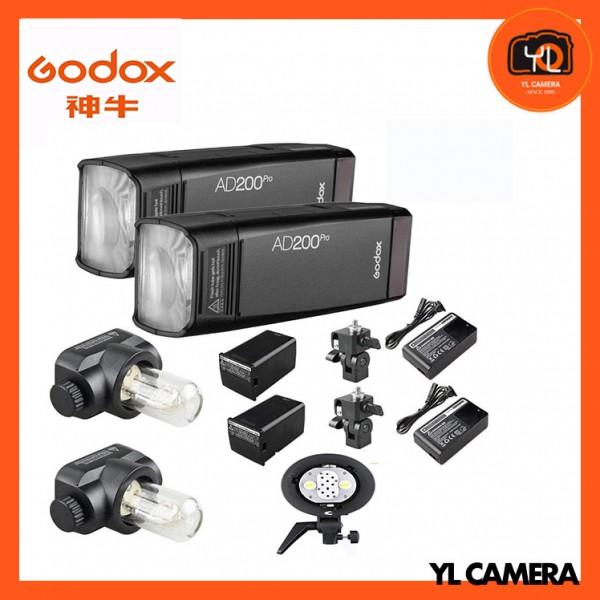 Godox AD200Pro TTL Pocket Flash 2 Light Kit + Godox AD-B2 Dual Power Flash Bracket Combo Set