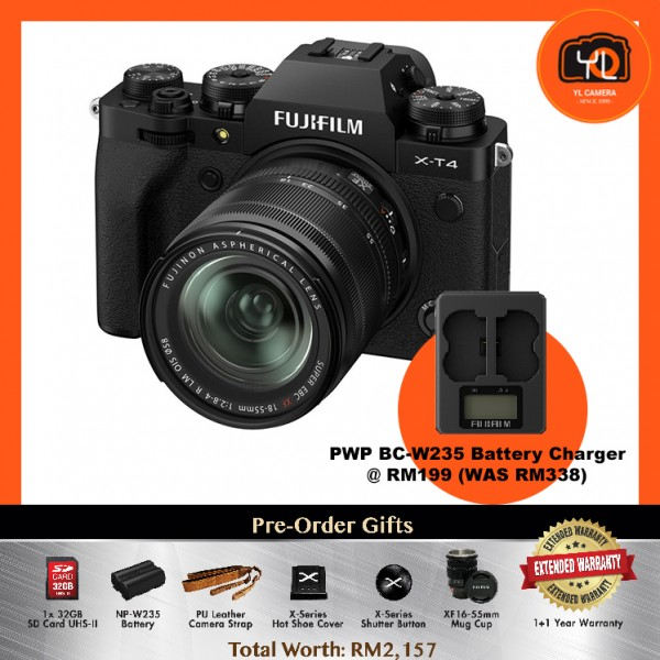 (Pre-Order) Fujifilm X-T4 + XF 18-55mm f/2.8-4R LM OIS - Black [With BC-W235 Battery Charger]