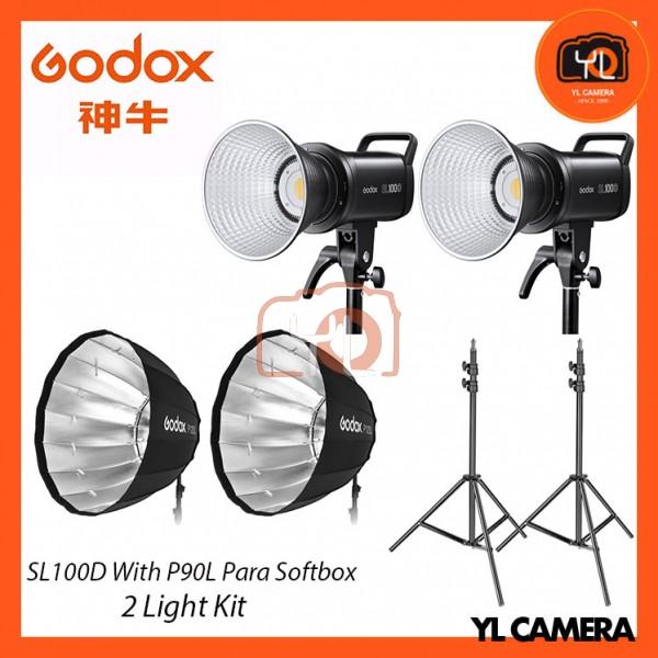 Godox SL100D Daylight With P90L Parabolic Softbox + 280CM Light Stand (2 Light Duo Kit)