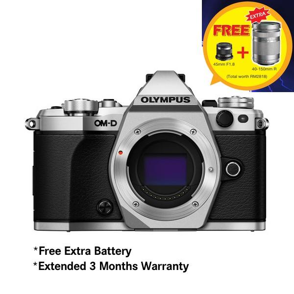 (Merdeka PROMO) Olympus OM-D E-M5 Mark II (Silver) [Free M.Zuiko 45mm F1.8 + Extra Battery + SanDisk 64GB Extreme SD Card]