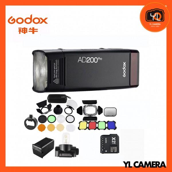 Godox AD200Pro TTL Pocket Flash Kit with X2T-C TTL Wireless Flash Trigger + BD-07 Barn Door Honeycomb Kit + AK-R1 Accessory Kit + SR1 Round Head Adapter for Caono Combo Set