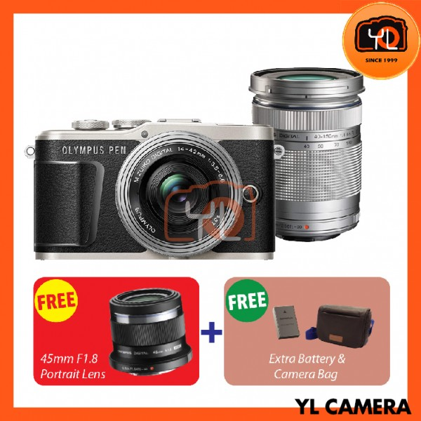 Olympus E-PL9 Twin Lens Kit [14-42mm + 40-150mm] (Black)  [Free Lexar 32GB 95MB SD Card] [Online Redemption 45mm F1.8 + Extra Battery + Olympus Camera Bag]