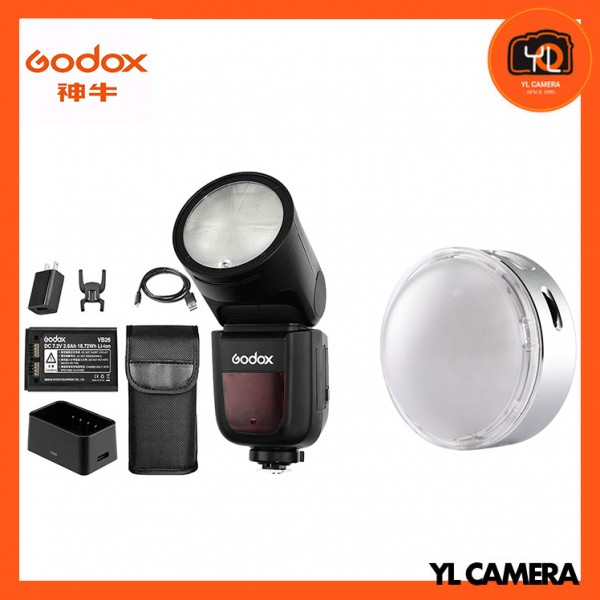 Godox V1 TTL Li-ion Round Head Flash Olympus/Panasonic + R1 Round RGB Mini Creative Light Combo Set