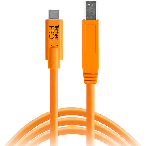 Tether Tools CUC3415-ORG TetherPro USB Type-C Male to USB 3.0 Type-B Male Cable (15', Orange)