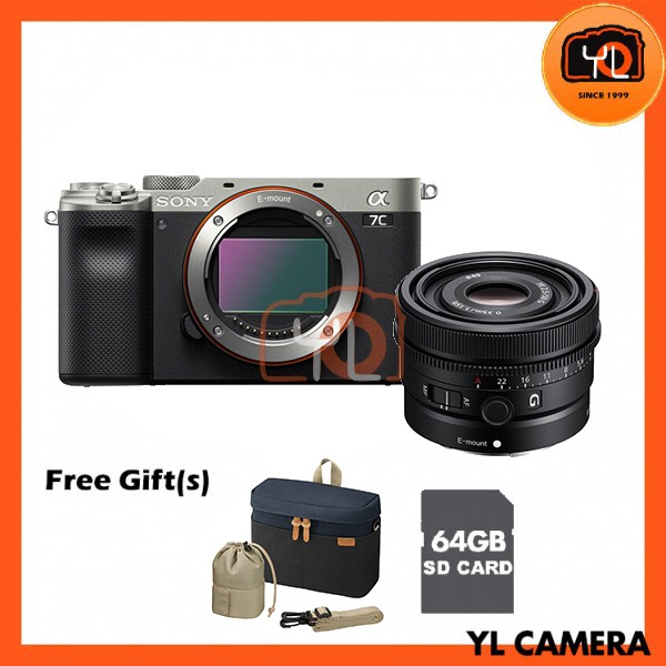 Sony A7C + FE 50mm F2.5 G - Silver (Free 64GB SD Card + LCS-BBK)