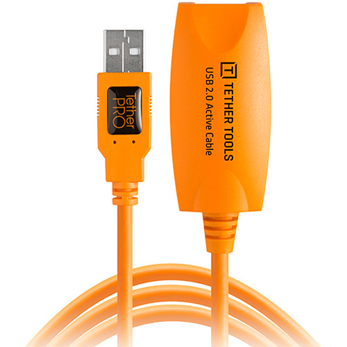 Tether Tools CU1917 TetherPro USB 2.0 Active Extension Cable (16', ORANGE)