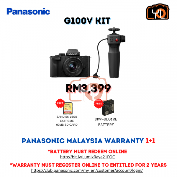 Panasonic Lumix DC-G100 W/ 12-32mm + Tripod Grip Kit (Free 16GB SD Card ,DMW - BLG10E Battery)