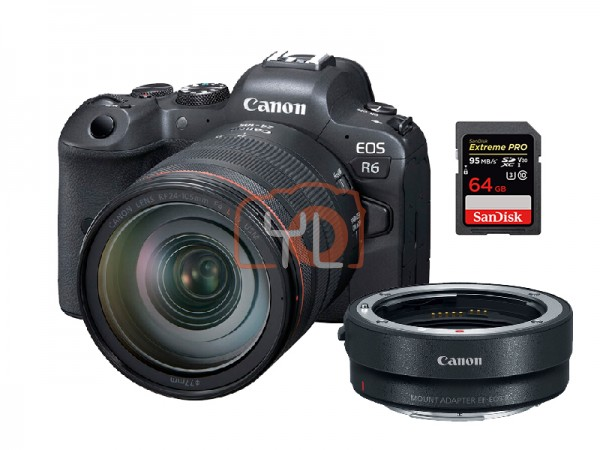 Canon EOS R6 + RF 24-105mm F4 L IS USM W/ Mount Adapter