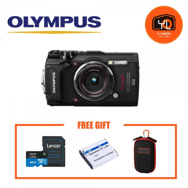 (Promotion) Olympus TG-5 Tough Compact Camera (Black) [Free Lexar 64GB MicroSD Card + Extra Battery + Case]