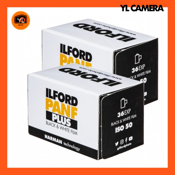 Ilford Pan F Plus Black and White Negative Film (35mm Roll Film, 36 Exposures) – Pack of 2
