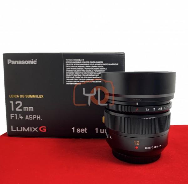 [DEMO-PJ33] Panasonic 12mm F1.4 DG Summilux ASPH, 99.99% Like New Condition (S/N:XT9GB101006)
