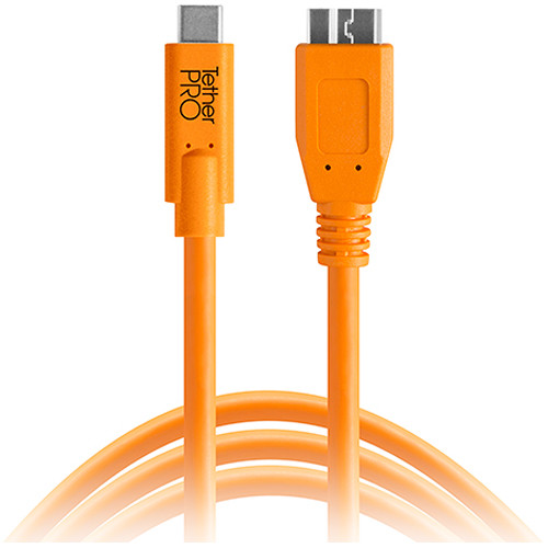 Tether Tools CUC3315-ORG TetherPro USB Type-C Male to Micro-USB 3.0 Type-B Male Cable (15', Orange)