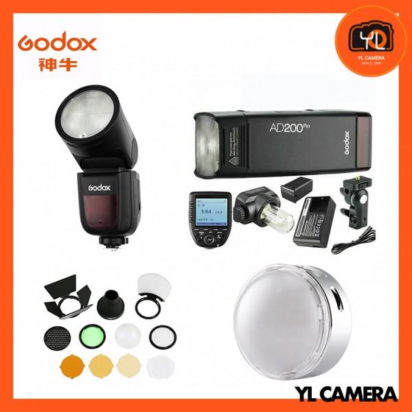 Godox V1 TTL Li-ion Round Head Flash + AD200Pro TTL Pocket Flash Kit + AK-R1 Accessory Kit + R1 Round RGB Mini Creative Light With XPro-F TTL Wireless Flash Trigger for Fujifilm Super Combo