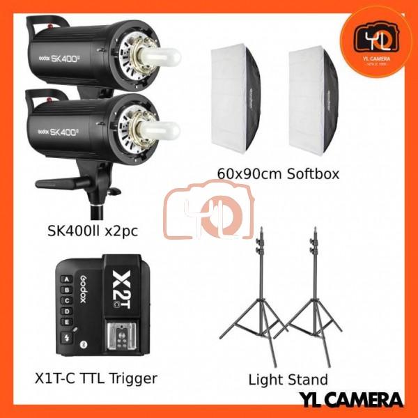 Godox SK400II Studio Flash 2 Lihgt Kit (60x90cm Sfotbox , Light Stand , X2T-Canon TTL Trigger)