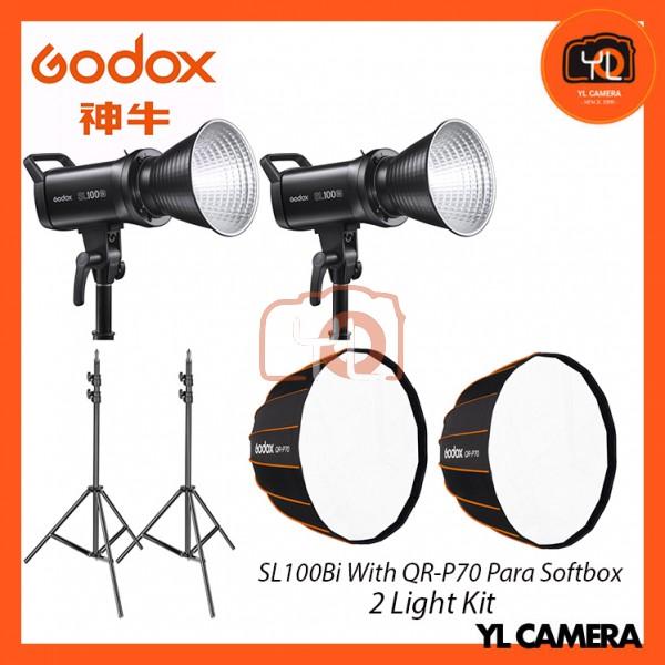 Godox SL100Bi Bi-Color LED With QR-P70 Parabolic Softbox + 280CM Light Stand (2 Light Duo Kit)