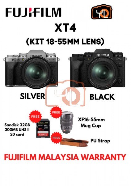 Fujifilm X-T4 + XF 18-55mm f/2.8-4R LM OIS - Black ( Free 32GB UHS II Card , XF16-55mm Mug Cup , PU Strap )
