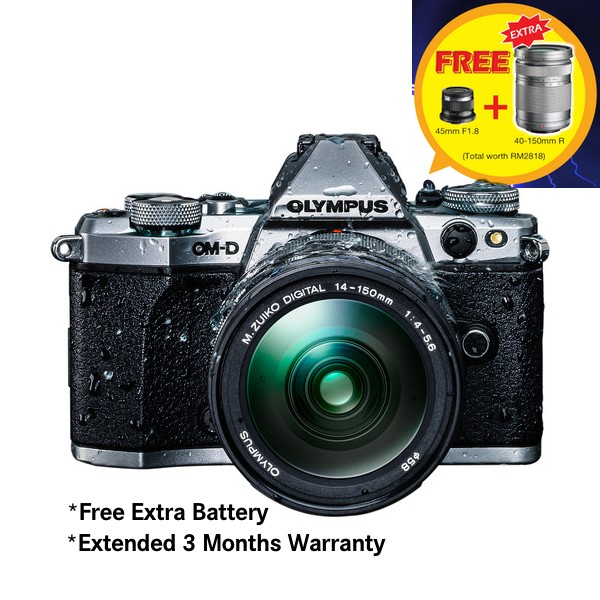 (Merdeka PROMO) Olympus OM-D E-M5 Mark II + 14-150mm F4-5.6 M. Zuiko (Silver) [Free SanDisk 64GB Extreme SD Card + Camera Bag]