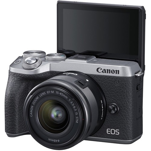 (Pre-Order) Canon EOS M6 Mark II + EF-M 15-45mm F3.5-6.3 IS STM - Silver (Free 32GB SD Card + Camera Bag)