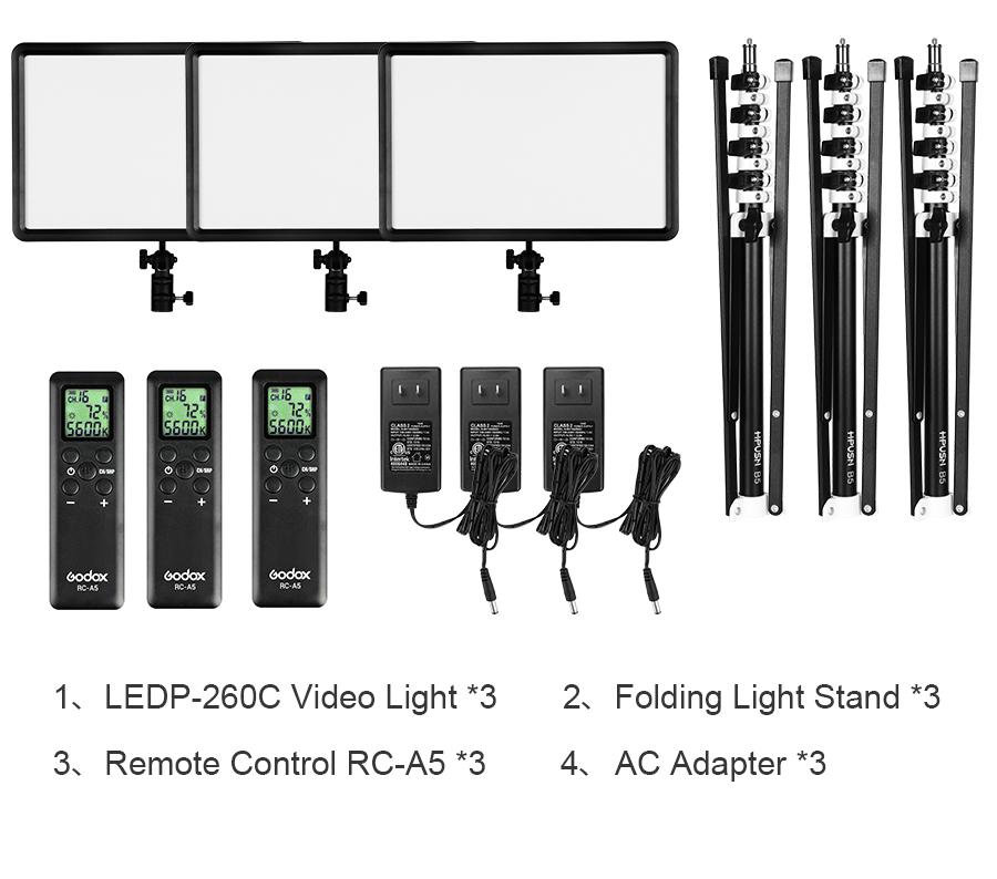 Godox LEDP260C LED 3 Light Kit Set