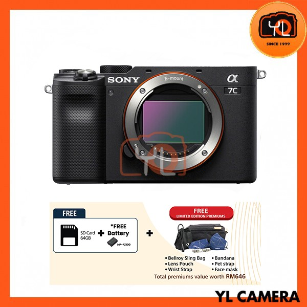 Sony A7C Full Frame Mirrorless - Black (Free 64GB SD Card)