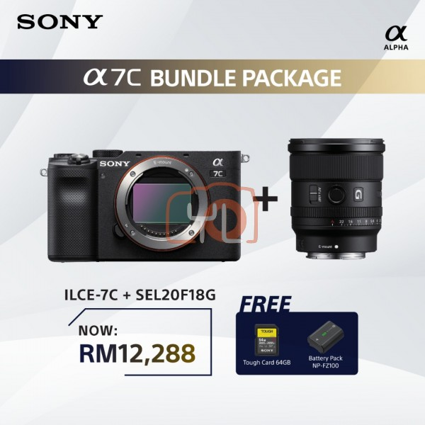Sony A7C + FE 20mm F1.8 G - Black (Free Tough 64GB SD Card + NP-FZ100)