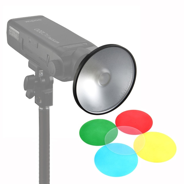 Godox AD-M Standard Reflector Cover with 5 Color Filter Gels for AD200 AD180 AD360 AD360II with Microfiber Cloth