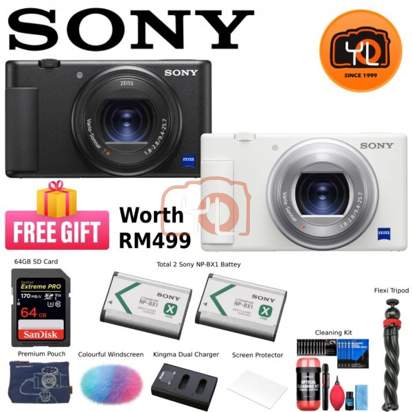 Sony ZV-1 Digital Camera (Black) - (Free 64GB card + Premium Pouch + Colourful Windscreen + 2 Sony NP-BX1 Battery + Kingma Dual Charger + Screen Protector + Cleaning kit + Flexi Tripod )