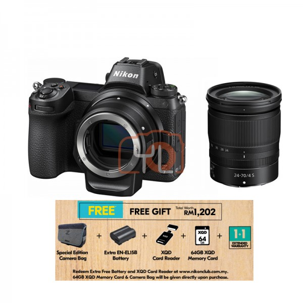 Nikon Z 7 + Z 24-70mm F4 S + FTZ Lens Mount Adapter [Free 64GB XQD Card & Camera Bag] (Online Redemption XQD Card Reader + Extra Battery + 1 Year Extended Warranty)