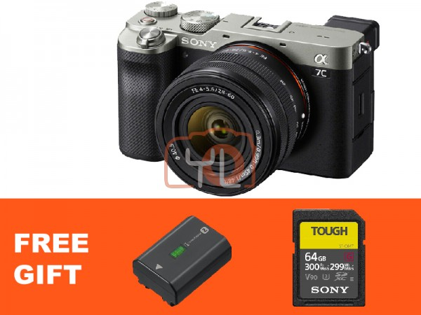 Sony A7C + FE 28-60mm F4-5.6 - Silver (Free Tough 64GB SD Card + NP-FZ100)