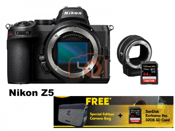 Nikon Z 5 Full Frame Mirrorless Camera - Body With FTZ Adapter [Free 32GB SD Card + Camera Bag]