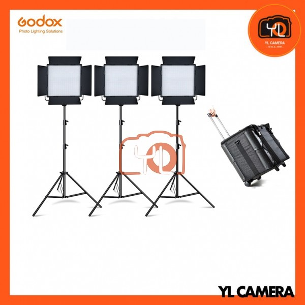 Godox LED1000D II Daylight DMX LED Video Light 3 Light Stand Kit With CB-10 Carrying Trolley Case