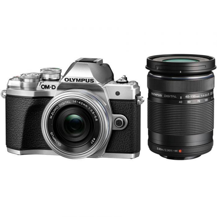 Olympus OM-D E-M10 Mark III Twins Lens Kit [14-42mm + 40-150mm] (Silver) [Free Lexar 32GB 95MB SD Card + Benro ELZ10 Camera Bag]