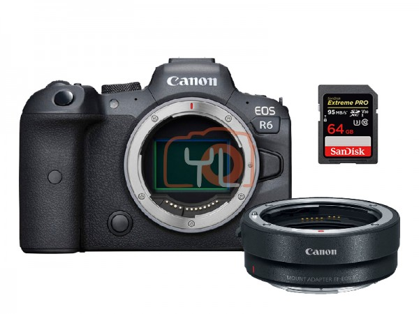 Canon EOS R6 Full Frame MIrrorless Camera W/ Mount Adapter