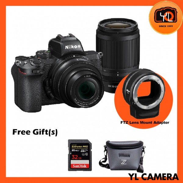 Nikon Z 50 Camera + DX 16-50mm F3.5-6.3 VR + DX 50-250mm f4.5-6.3 VR + FTZ Mount Adapter (Free 32GB ExtremePro SD Card + Camera Bag)