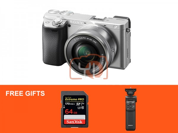 Sony A6400 Camera (Silver) with 16-50mm F3.5-5.6 Kit Lens + Sony VPT2BT Wireless Shooting Grip [Free 64GB SD Card]