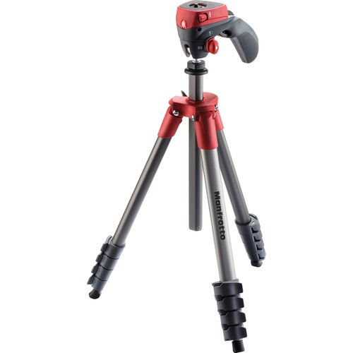 Manfrotto MKCOMPACTACN-RD Compact Action Aluminum Tripod (Red)