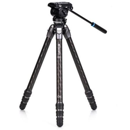 Benro TTOR34CLVS4PRO Tortoise Columnless with Leveling Base Carbon Fiber Three Series 4-Leg Section Tripod with S4PRO Flat Base Video Head